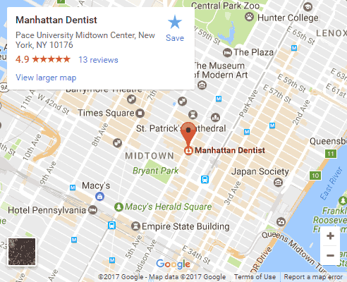 Google map for Manhattan Dentist